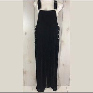 Mimi Maternity Black Velvet Pants Overalls Small